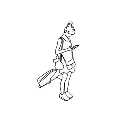 woman with travel bag using mobile phone vector image