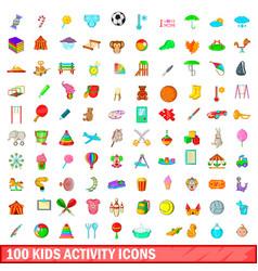 100 kids activity icons set cartoon style vector
