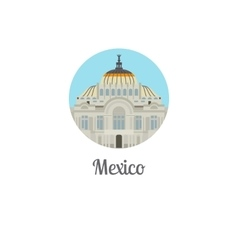 Mexico palace landmark isolated round icon vector
