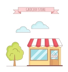 Grocery store with tree vector