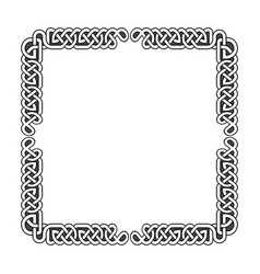 Celtic knots medieval frame in black and vector