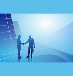 Two silhouette businessman hand shake business vector