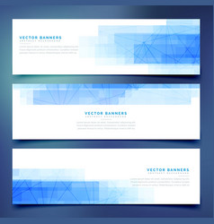 Blue business horizontal web banners set vector