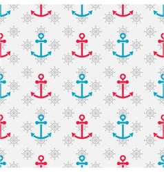 Seamless sea pattern with anchors and hand wheels vector