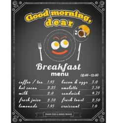 Breakfast menu on the chalkboard vector image