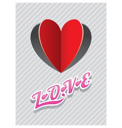 Heart shape paper cut background and love text vector