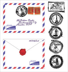 Airmail envelope with stamps vector