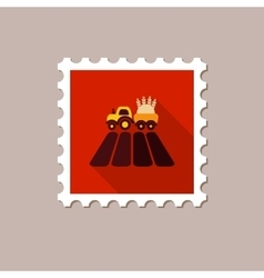Tractor on field flat stamp with long shadow vector