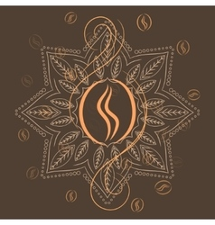 Coffee beans on henna mandala background print vector