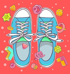Colorful of blue gumshoes on red background vector