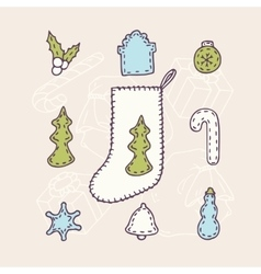 Hand drawn christmas sock set with different sewn vector