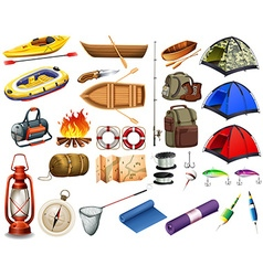 Camping gears and boats vector
