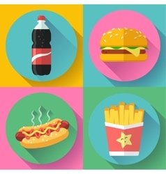 Fast food flat design icon set hamburger cola vector