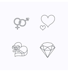 Love heart gift box and brilliant icons vector