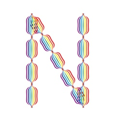 Letter n made in rainbow colors vector