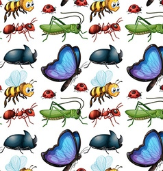 Seamless background design with bugs vector image
