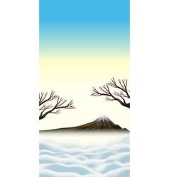 Scene with snowtop on mountain vector
