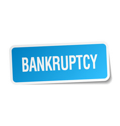 Bankruptcy blue square sticker isolated on white vector
