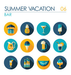 bar beach flat icon set summer vacation vector image vector image