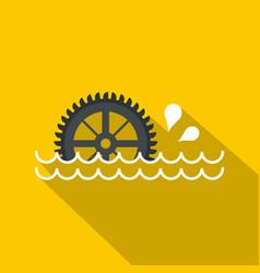 Big waterwheel icon flat style vector