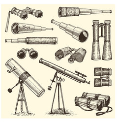 binocular set monocular vintage engraved hand vector image