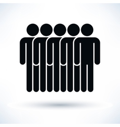 Black five people man figure with drop shadow vector