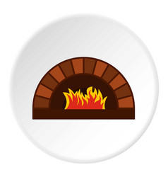 brick pizza oven with fire icon circle vector image