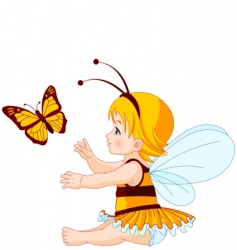 cute baby fairy and butterfly vector image vector image