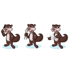 Dark brown polecat mascot with phone vector