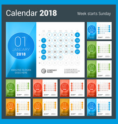 Desk calendar for 2018 year design print template vector