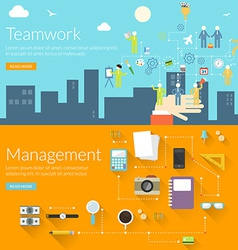 Flat design concept for teamwork and management vector