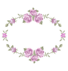 floral frame with roses isolated on a white vector image