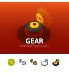 Gear icon in different style vector image