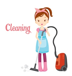 Girl With Vacuum Cleaner vector image