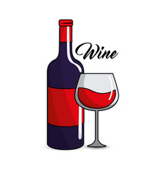 Glass and bottle of wine icon vector