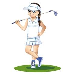Golfer with golf club vector