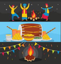 happy lohri festival banner set flat style vector image