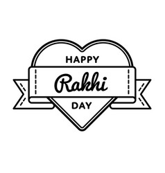 Happy rakhi day greeting emblem vector
