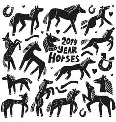 Horses - doodles set vector image vector image