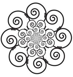 Indian henna tattoo swirly flower inspired vector