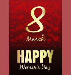 international womens day march 8 greeting card vector image vector image