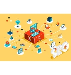 Isometric 3d seo infographic concept vector image vector image