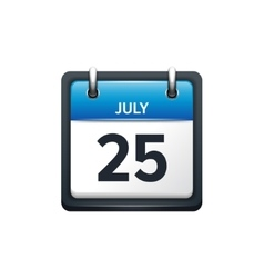 July 25 calendar icon flat vector