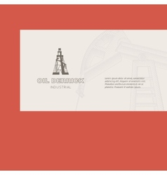 Oil rig card vector image