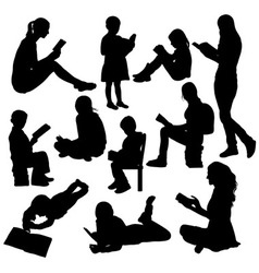 Reading book silhouettes vector