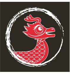 Red dragon chinese animal fantasy round frame dark vector
