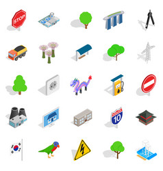 Roadside icons set isometric style vector