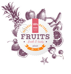 Round emblem with hand drawn fruits vector