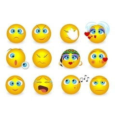 Set of Emoji emoticons face icons isolated vector image vector image