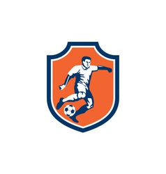 Soccer Player Kicking Ball Shield Retro vector image vector image